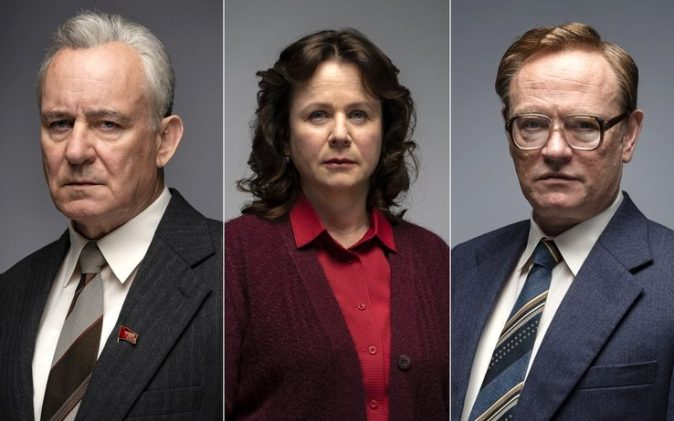 "Stellan Skarsgård, Emily Watson, and Jared Harris in the HBO miniseries ""Chernobyl."""